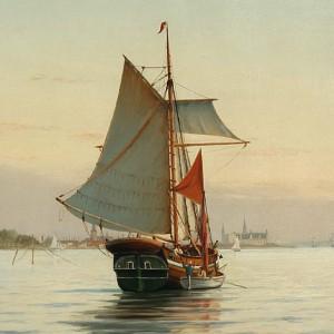 Maleri af Johan Neuman. Et skib og kadrejere på Øresund, - der handles over skibssiden